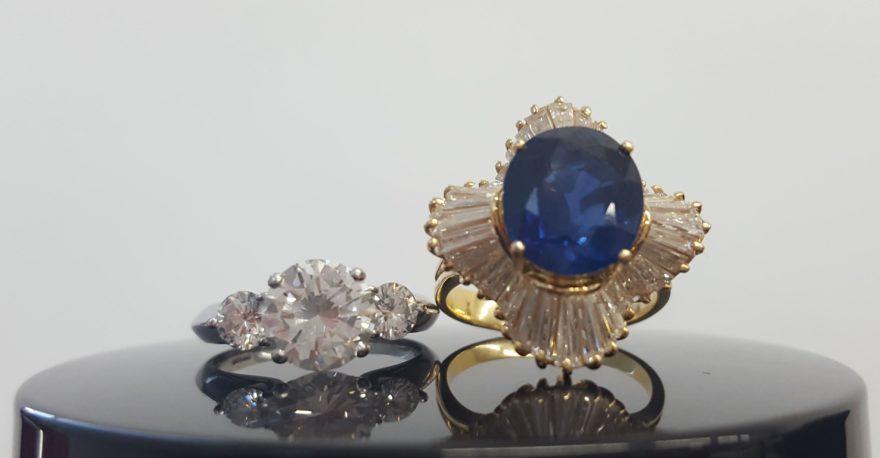 高価買取したダイヤの指輪とサファイアの指輪